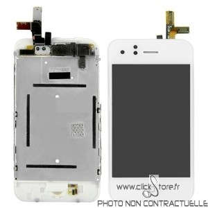 Bloc ecran blanc Iphone 3G + ecran LCD prémonté sur Iphone 3G